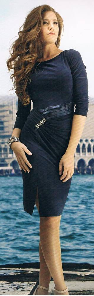 Black long sleeved simple dress
