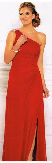 One shouldered watermelon coloured chiffon gown