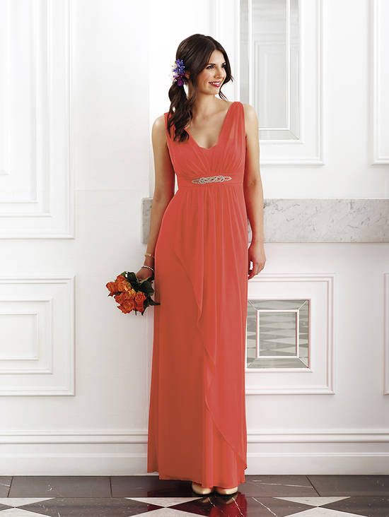 Full length chiffon gown with diamantes - NOT THE COLOUR PICTURED - size 14 only