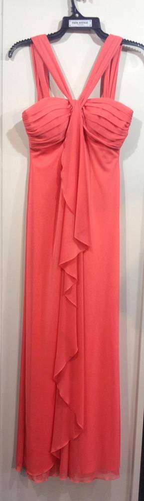 Coral Front Ruffle Dress