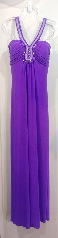 Purple teardrop neckline gown