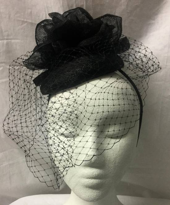 Black cocktail hat with full face netting
