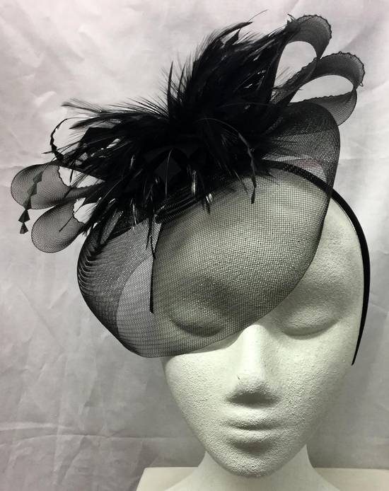 Black fascinator with feather flower on a headband - one only