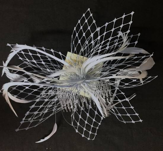 Ice (powder blue) fascinator with veiling and feathers