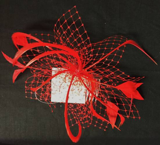 Red  (scarlet) fascinator with veiling and feathers