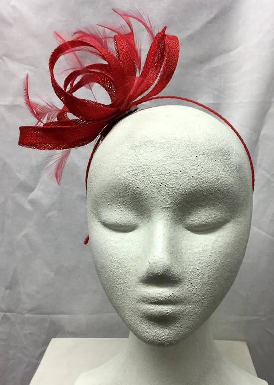 Red multi looped fascinator with feathers on a headband - one only