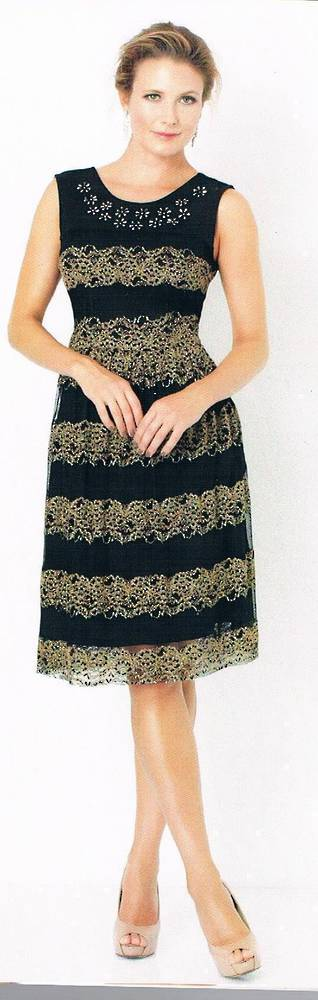 Black and gold a-line dress - one only size 8
