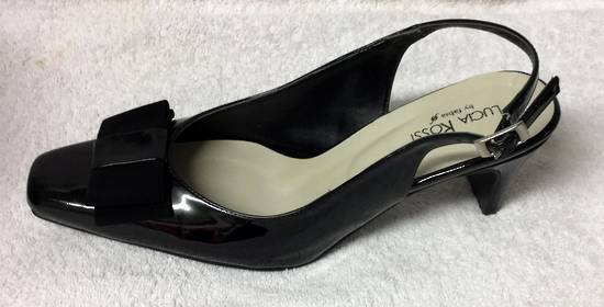 Black patent sling back shoe