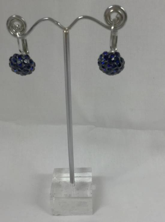 Deep indigo crystal circular drop earrings