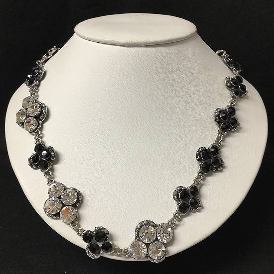 Jet and diamante necklace