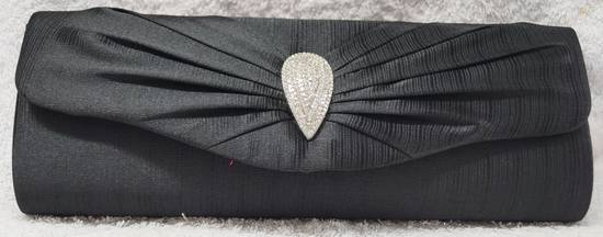 Black teardrop diamante clutch