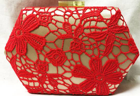 Red lace and champagne clutch