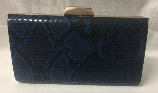 Navy and black snakeskin clutch -one only