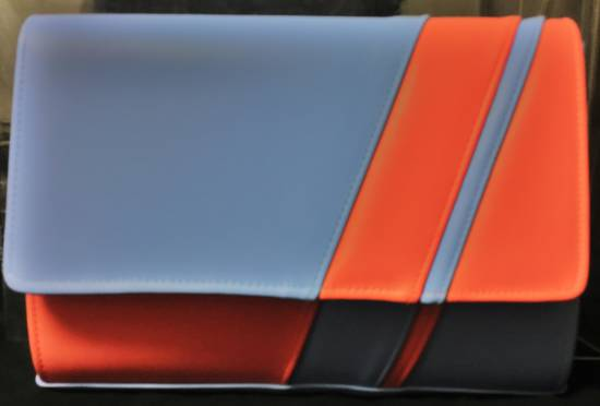 Ice (powder blue, baby blue) and coral asymmetrical stripe clutch bag - one only