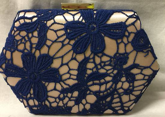 Royal blue lace and champagne clutch - one only