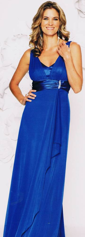 Full length chiffon and satin gown - NOT THE COLOUR PICTURED - sizes 10 and 14 only