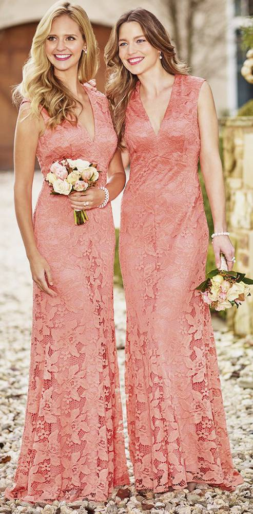 Lace gown with V neck