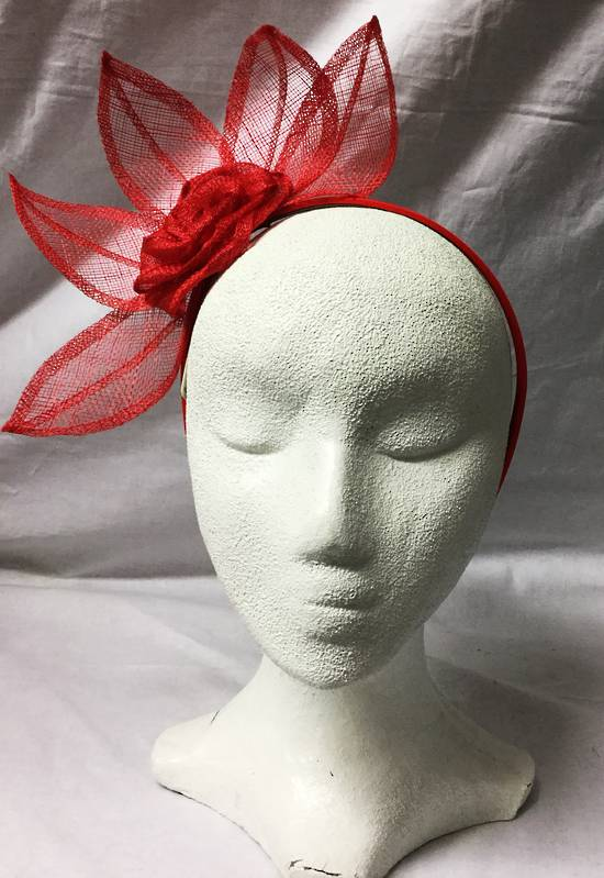 Red crown flower fascinator - one only