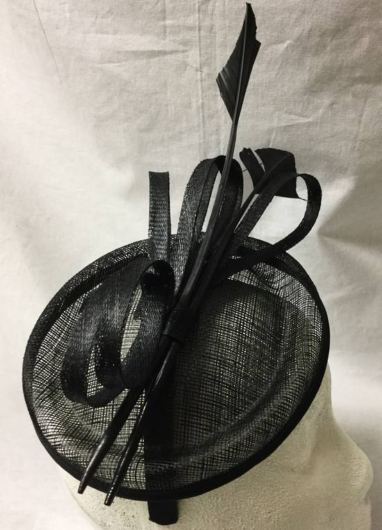 Black asymmetrical fascinator with loops and feathers - One only