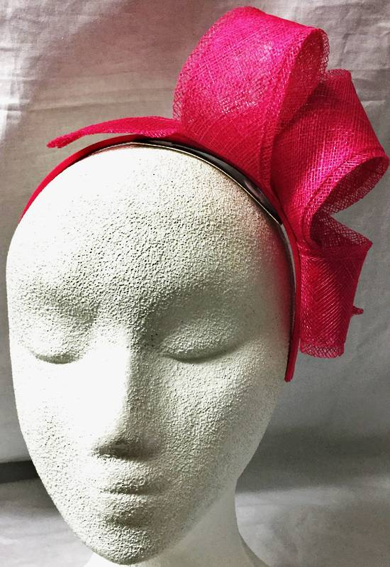 Fuchsia looped fascinator on a headband - one only