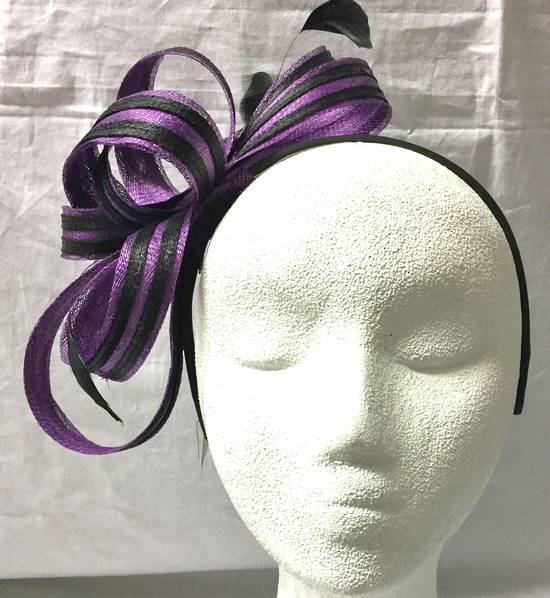 Purple and black two tone bow fascinator