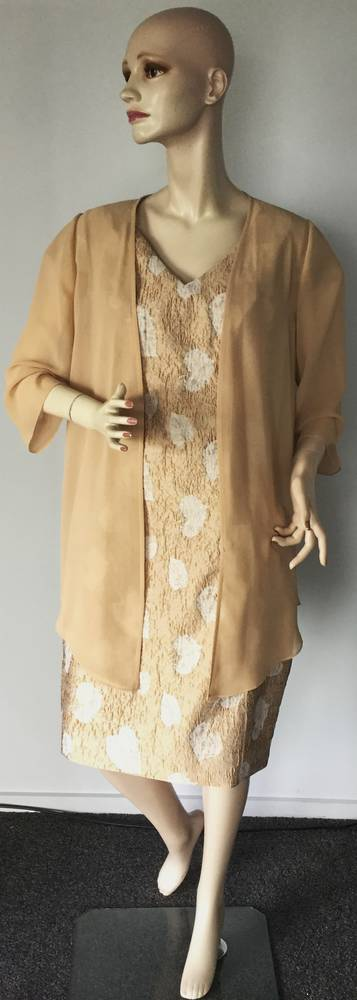 Embossed dress with a sheer coat - size 12 only