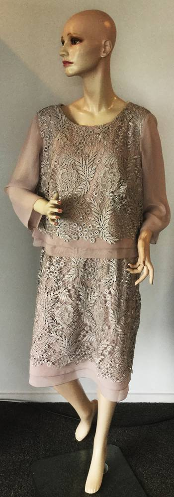 Shell (mushroom) dress with silver lace overlay  12 and 20 only