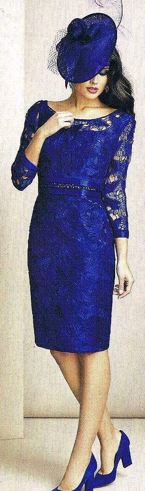 Electric blue lace dress and overtop -size 10 only
