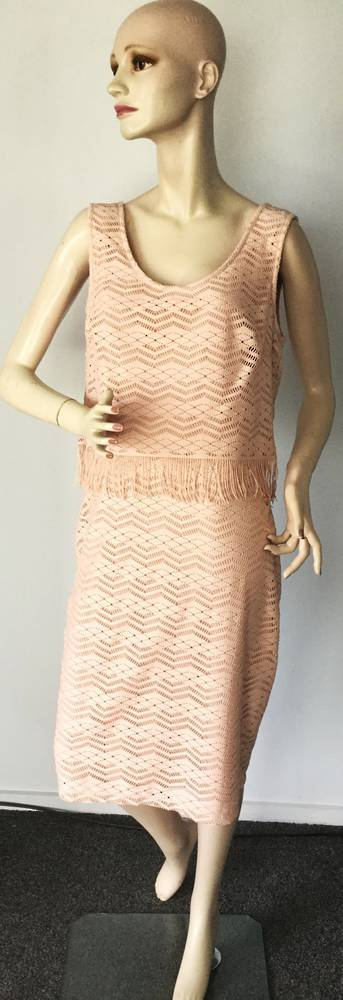 Blush lace sleeveless shift dress - size 12 only