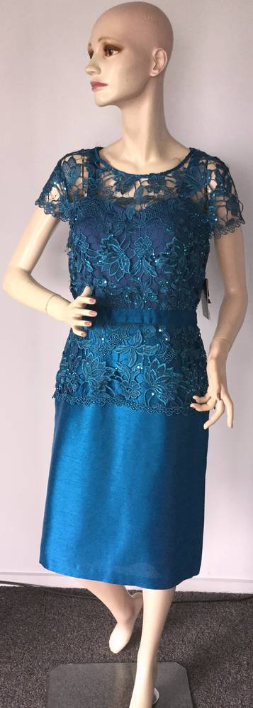 Dress with sequinned lace over shantung dress - size 8 and 12 only