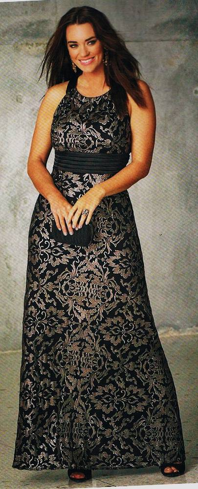 Black and silver embossed gown - size 20 only