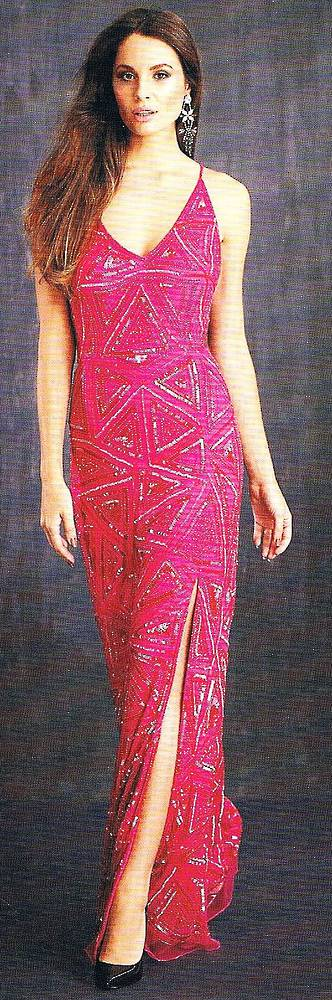 Hot pink full length sequin gown