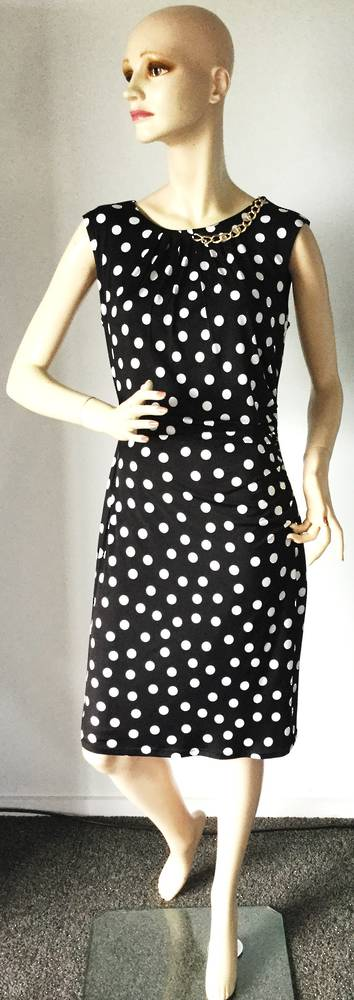 Black rouched dress with white spots - size 10 only