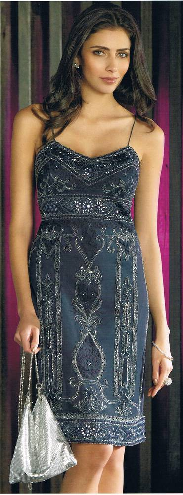 Navy beaded dress - size 6 only
