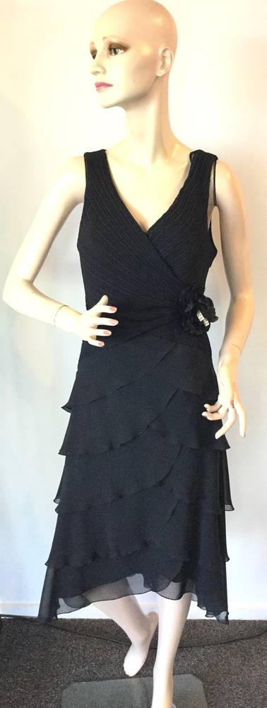 Chiffon cocktail length dress - size 16 only