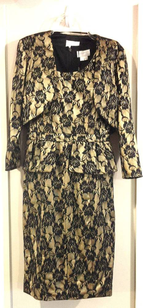 Antique gold dress with black lace overlay and bolero - size 8 only