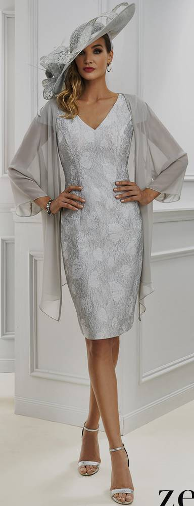 Embossed dress with a sheer coat - NOT THE COLOUR PICTURED
