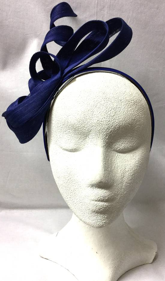 Royal blue multi looped and twisted fascinator - one only