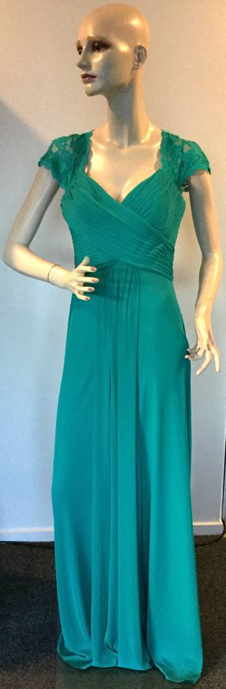 Full length gown with pleated bust and lace shoulders -size 12 only