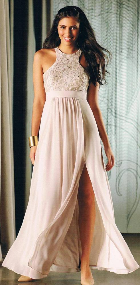 Chiffon and lace racer back gown - sizes 6 and 14 only
