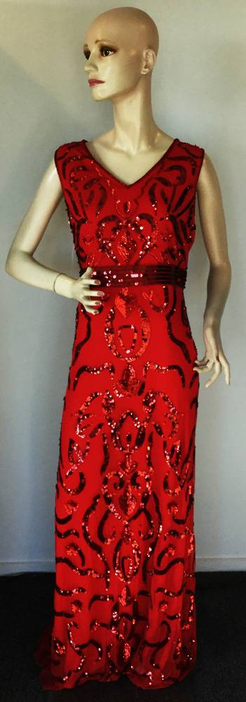 Scarlet sequin gown - Size 18 only