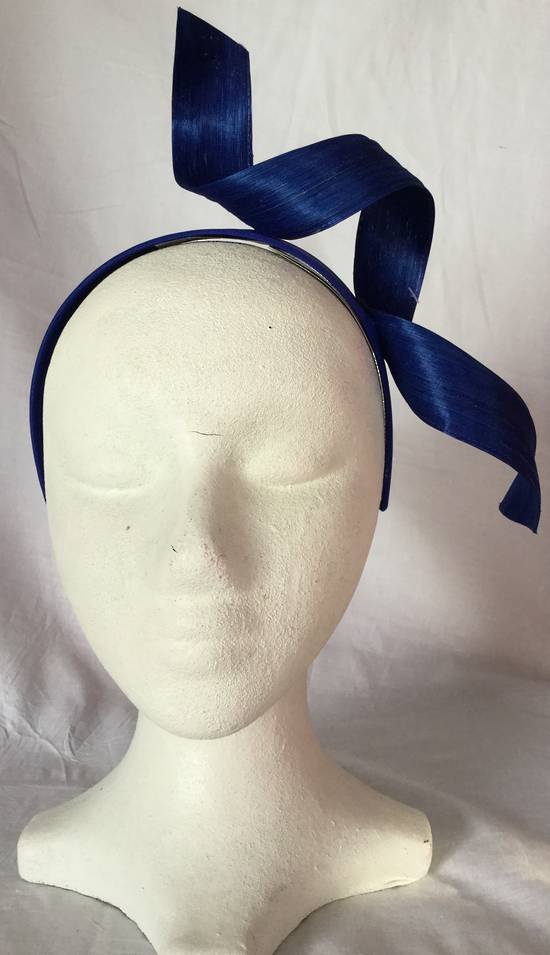 Royal blue twist fascinator on a headband - one only
