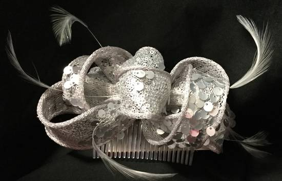 Silver bow and sequin fascinator