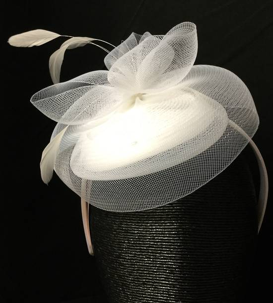 White small cocktail hat on headband - one only