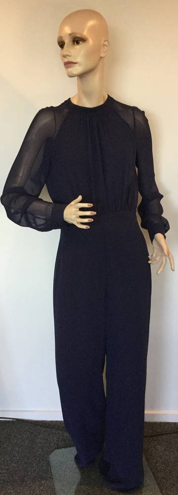 Navy lined chiffon jumpsuit - size 10 only
