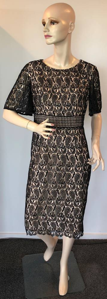 Black lace over nude lining dress - one only size 12