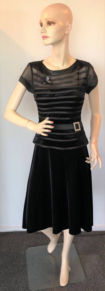 Black velvet peplum dress - one only size 10