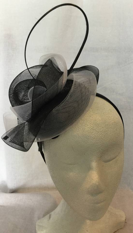Black and white circular top knot fascinator - one only