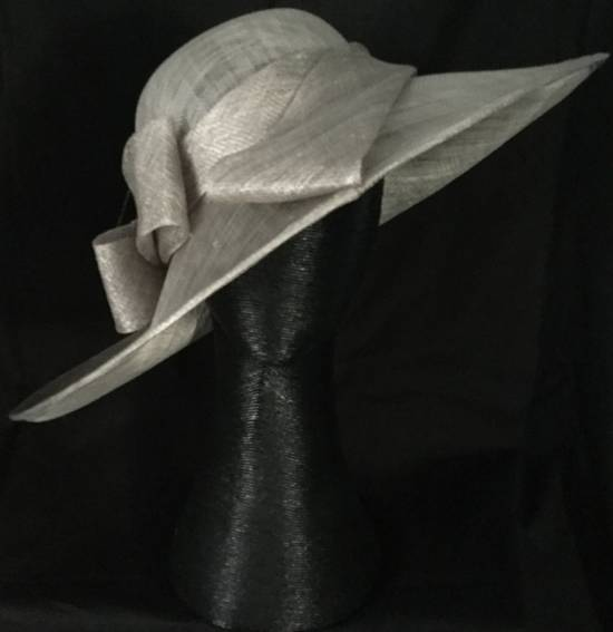Silver wide brim asymmetrical picture hat - one only