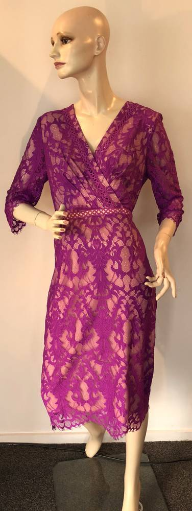 Fuchsia lace over nude lining dress - size 10 and 14 only